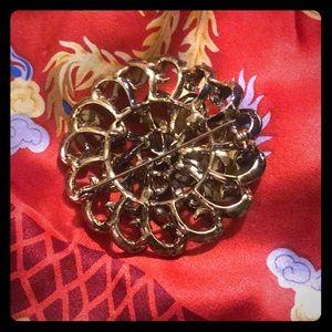 Vintage gold rhinestone brass 2 inch brooch